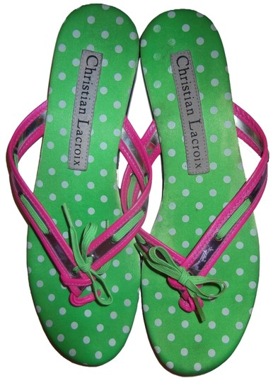 Preload https://item5.tradesy.com/images/christian-lacroix-bright-pink-and-lime-green-and-polka-dot-flip-flops-thongs-sandals-size-us-75-2821219-0-0.jpg?width=440&height=440