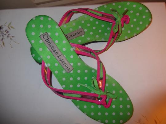 Christian Lacroix Bright Pink and Lime Green Sandals