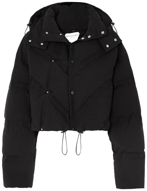 Item - Black Hooded Quilted Cotton-blend Jacket Size 8 (M)