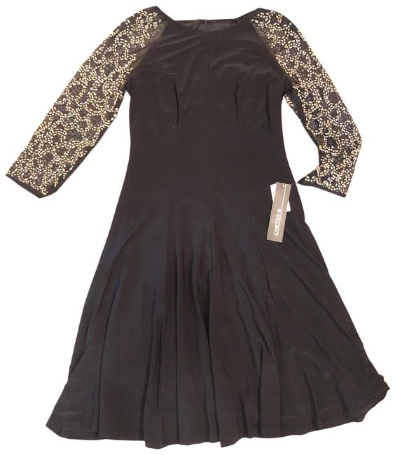 Item - Black Evening with Beaded Sleeves Mid-length Cocktail Dress Size 4 (S)