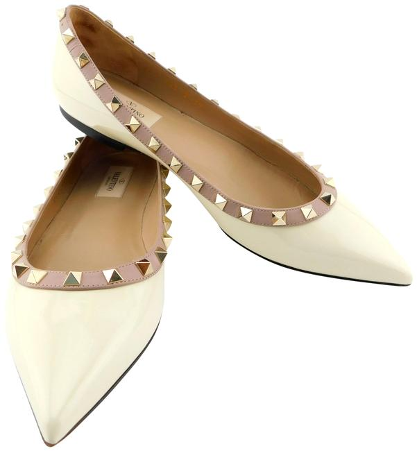 Item - Ivory Winter White / Nude Rockstud Two Tone Patent Leather Ballet Flats Size EU 39 (Approx. US 9) Regular (M, B)