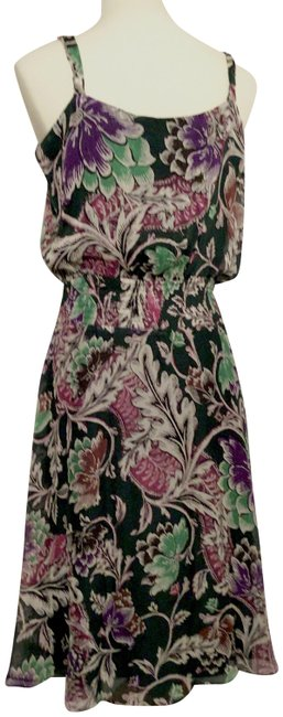 "Item - Green Purple Silk ""Fiesta"" Floral Print Spaghetti Strap Mid-length Casual Maxi Dress Size 12 (L)"