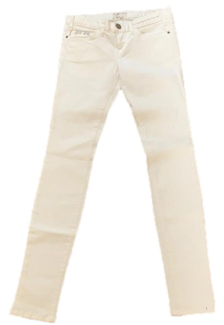 Item - White Silver Light Wash Stud Denim Skinny Jeans Size 26 (2, XS)