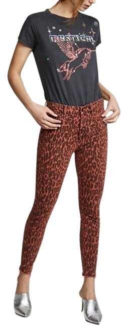 Item - Black Orange Dark Rinse High Waisted Looker Ankle Fray Animal New Skinny Jeans Size 26 (2, XS)