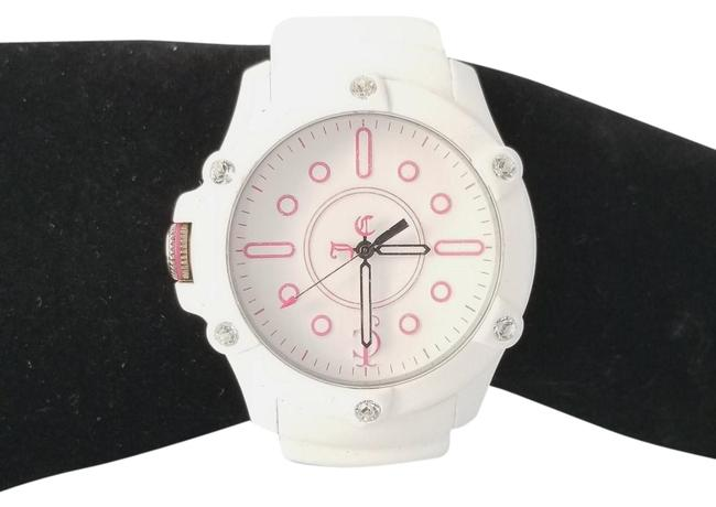 Item - White And Pinkrubber Band with Crystals Watch