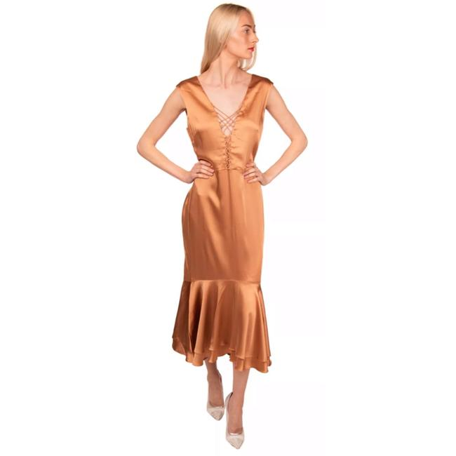 Item - Rose Gold Satin Lace Up Flounce Fits Mid-length Cocktail Dress Size 10 (M)