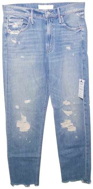 Mother Blue Medium Wash Superior Cardinal Sinner High-rise Ankle Chew In Saving Grace Straight Leg Jeans Size 26 (2, XS) Mother Blue Medium Wash Superior Cardinal Sinner High-rise Ankle Chew In Saving Grace Straight Leg Jeans Size 26 (2, XS) Image 1