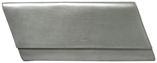 Item - Diagonale Flap Front Silver Leather Clutch