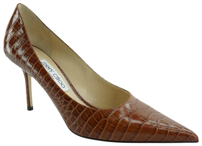 Item - Brown Love 85 Croc Embossed Cuio Leather Pointed Pumps Size EU 38.5 (Approx. US 8.5) Wide (C, D)