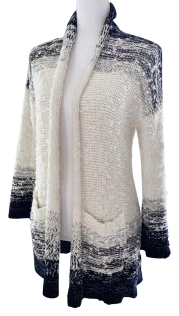 Item - Black/White Ombre Anthropologie Space-dyed Chunky Weave Open Front Cardigan Size 00 (XXS)