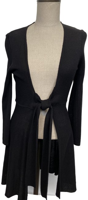 Item - Black Small Sheer Tie Front Cardigan Size 4 (S)