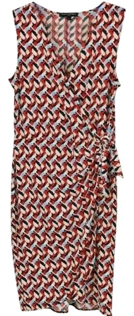Item - Red Blue White Abstract Faux Wrap Short Work/Office Dress Size 4 (S)