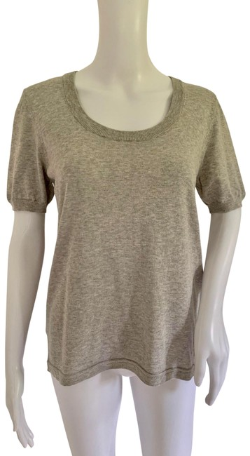 Item - Heather Finest Of Cotton Knit Short Sleeve Rear Zip Grey Sweater