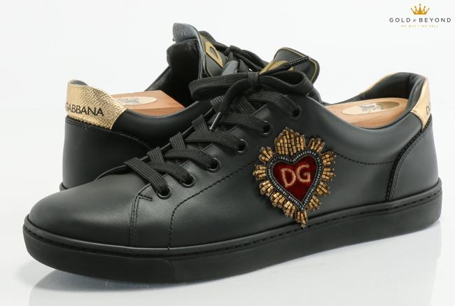 Item - Black/Gold Dolce and Gabbana Heart Low Top Sneakers Size 7.5 Shoes