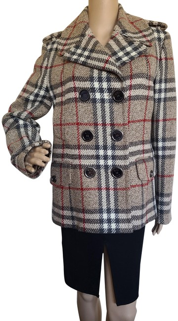 Item - Brown Red Multicolor London Nova Check Lambswool Jacket Size 10 (M)