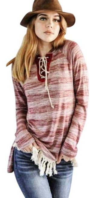 Item - Entro Women's Striped Tunic Sweatshirt/Hoodie Size 14 (L)