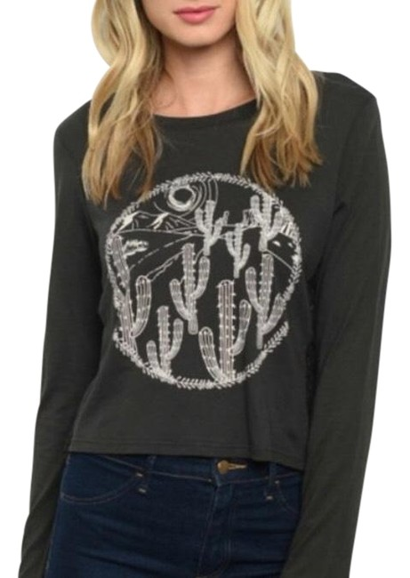 Item - Women Cactus Lace Insert Graphic Cropped T-shirt Tee Shirt Size 14 (L)