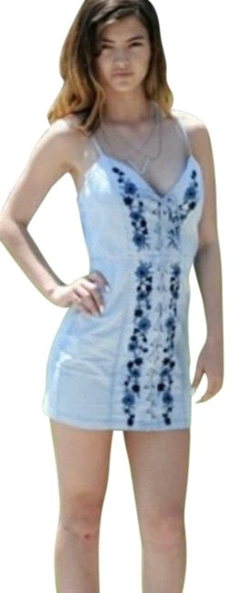 Item - 36point5 Women's Blue Floral Print Embroidered Short Casual Dress Size 12 (L)