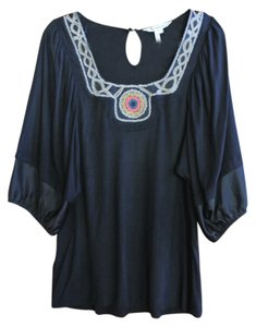 BCBGeneration With Gathered Bell Sleeves And Embroidery Detail At Neck Top Black