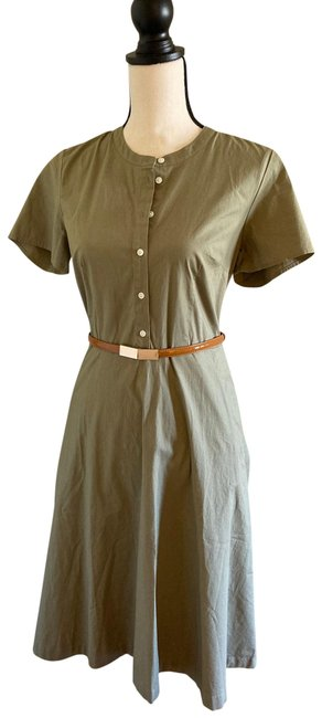 Item - Sand Poplin Button Down Mid-length Short Casual Dress Size 4 (S)