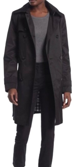 Item - Black Hooded Double Breasted Coat Size 12 (L)