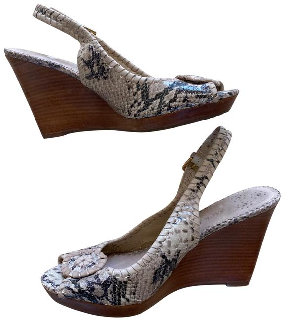 Item - Tan and Brown Wooden Snakeskin Leather Wedges Size US 8.5 Regular (M, B)