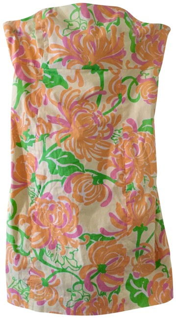 Item - Orange Yellow Multicolor What A Wonderful World Strapless Short Casual Dress Size 2 (XS)