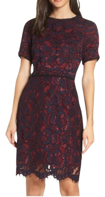Item - Navy and Burgundy Nordstrom Lace Sheath Short Cocktail Dress Size 2 (XS)