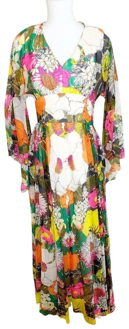 Item - Multicolor Kimono Sheer Floral 1970s Vintage - Sleeves - Floor Length Long Casual Maxi Dress Size 4 (S)