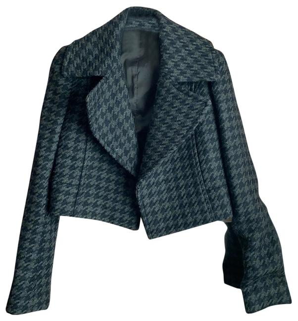 Item - Houndstooth Cropped Blazer Gray and Black Sweater