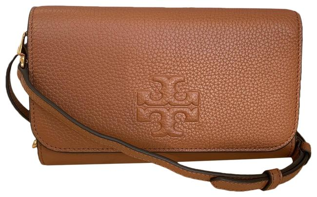 Item - Thea Flat with Card Wallet Brown Lambskin Leather Cross Body Bag