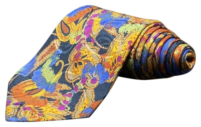 Item - Multi Colors Floral Neck Tie Silk Italy Abstract