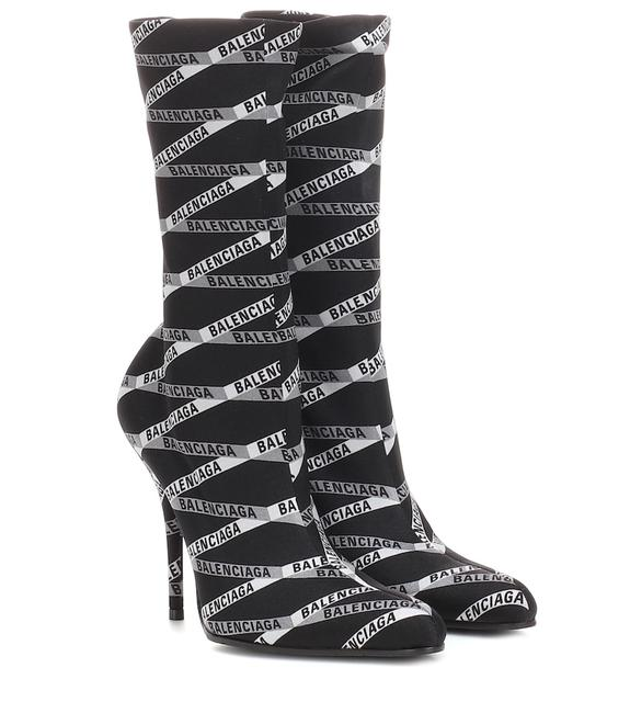 Item - Black and White Monogram Logo Spandex Boots/Booties Boots/Booties Size EU 37 (Approx. US 7) Regular (M, B)