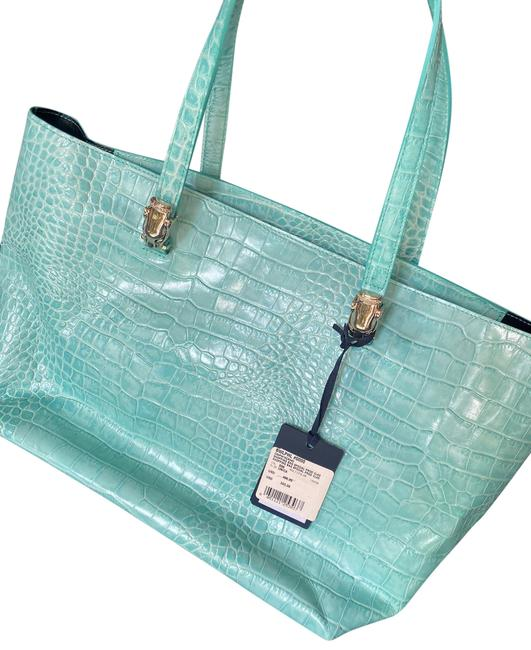 Item - Coopw15co042 Turquoise Alligator Skin Leather Tote