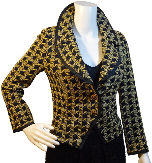 Item - Black/Yellow Houndstooth Pleated Ribbon Blazer Size 4 (S)