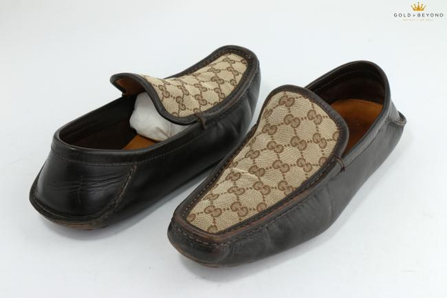 Item - Brown Signature Gg Canvas Leather Loafers Shoes