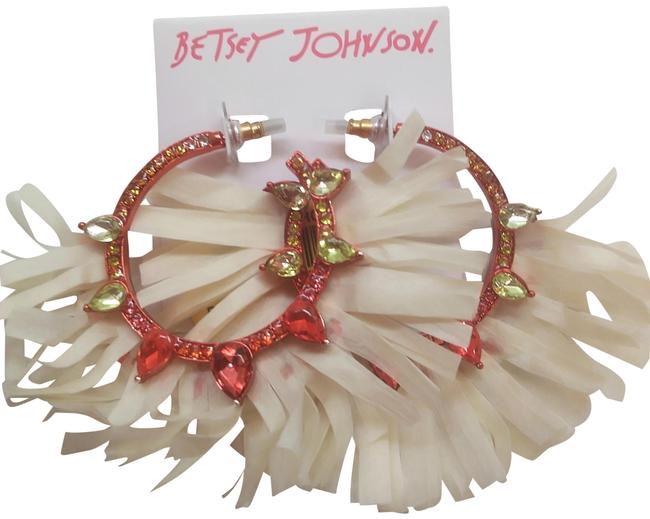 Item - Cream New Red Metal with Raffia Earrings