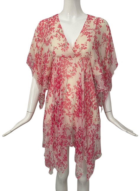 Item - Pink White Asymmetrical Drape Floral Print Print Mid-length Short Casual Dress Size 6 (S)