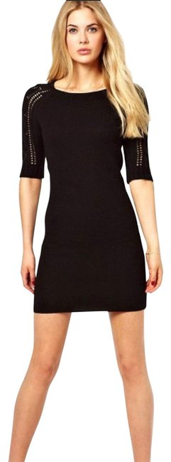 Item - Black Bodycon Knit Tunic Sweater Mid-length Cocktail Dress Size 4 (S)