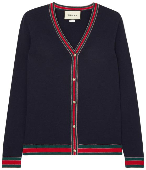 Item - Navy Striped Wool Blend-trimmed Cardigan Size 8 (M)