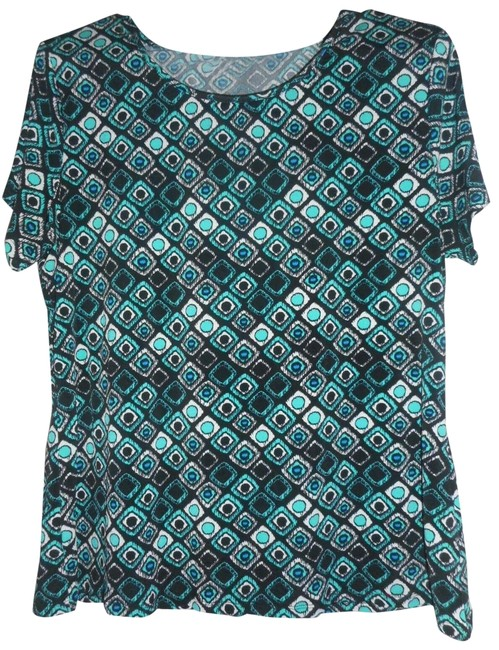 Item - Black / Blue / White / Green Pxl Short Sleeve Blouse Size Petite 14 (L)