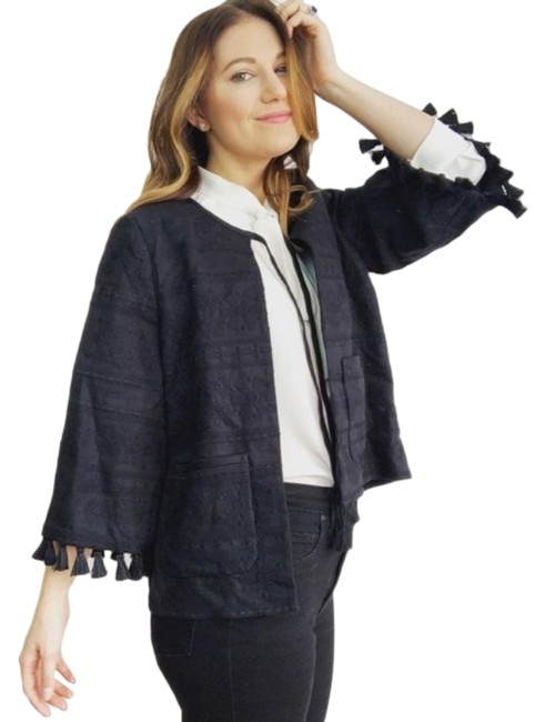 Item - Black Embroidered Tassel Trim Jacket Poncho/Cape Size 6 (S)