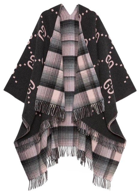 Item - Charcoal Pink New Current Reversible Wool Gg Tartan Heavy Wool Jacket Poncho/Cape Size OS (one size)