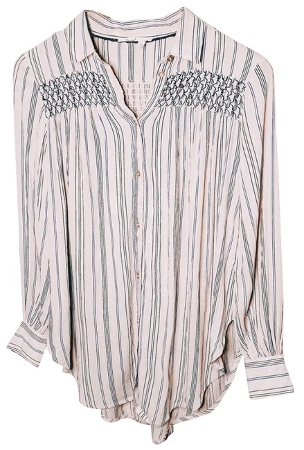 Item - Cream Anthro Floreat Oversized Embroidered Button Women's Xxs Button-down Top Size 00 (XXS)