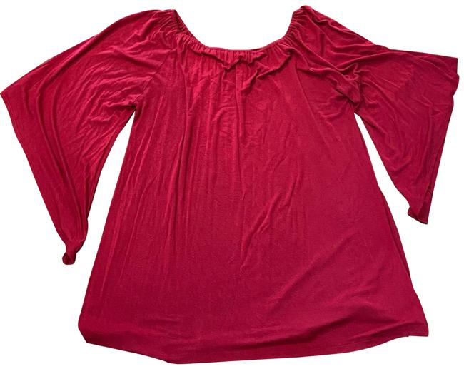 Item - Burgundy Red Flutter Sleeve Tunic Size 6 (S)