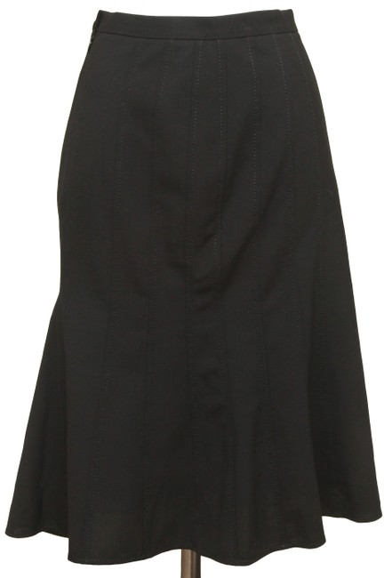 Item - Black Dolce & Gabbana Straight Flared Pleats Wool Elastane 38 Skirt Size 4 (S, 27)