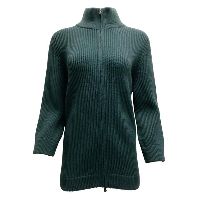 Item - Ribbed Knit Cashmere Full Teal Sweater