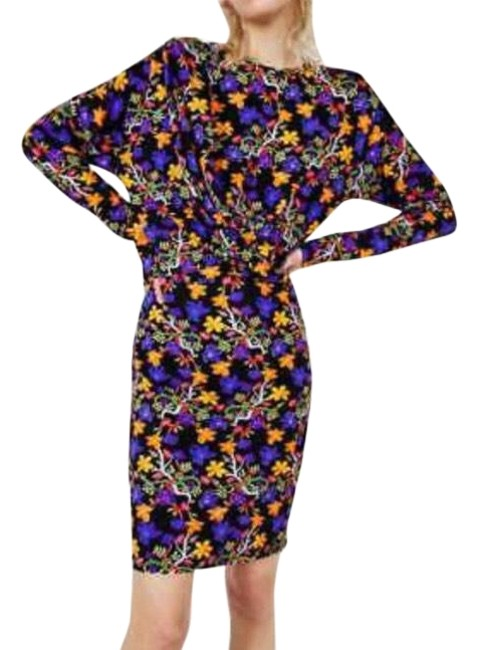 Item - Purple Trafaluc Long Sleeve Floral Draped Bodycon Short Night Out Dress Size 8 (M)