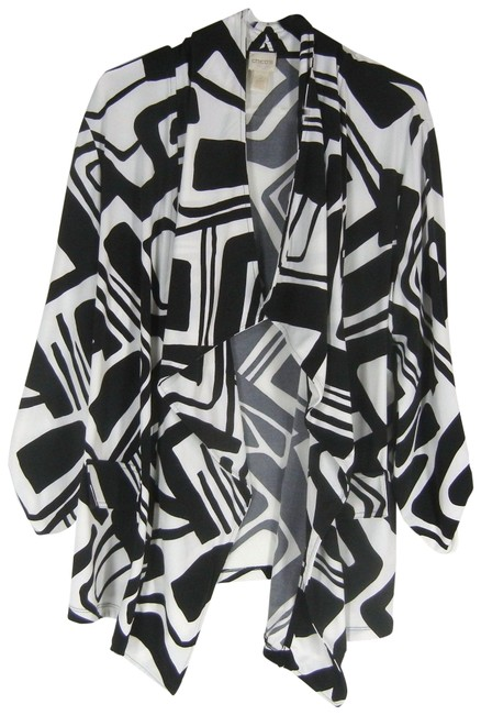 Item - Black White Abstract Jacket Size 12 (L)