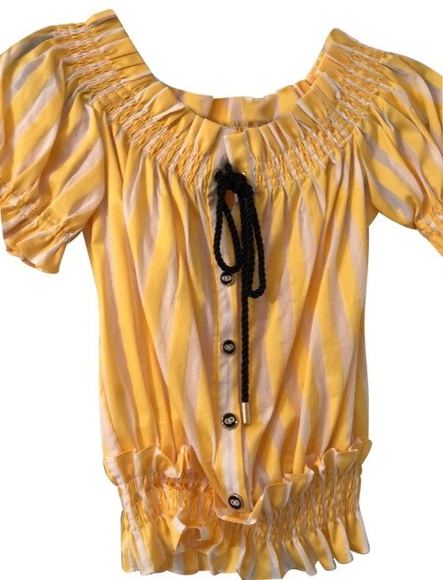 Item - White and Yellow Striped with Button Black Cord Blouse Size 4 (S)
